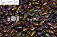 2 hole Czech bead 3 x 6 mm 01750 qty 50 DropDuo Copper